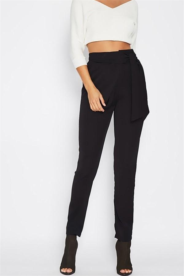 Fashion Wild Casual Solid Color Pencil Pants Black m