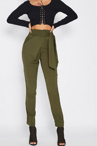 Fashion Wild Casual Solid Color Pencil Pants Army Green m
