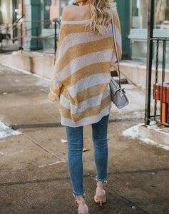 Fashion Wild Loose Striped Knit Sweater Coffee s