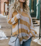 Fashion Wild Loose Striped Knit Sweater Yellow l