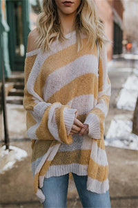 Fashion Wild Loose Striped Knit Sweater Yellow s