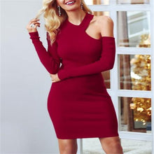 Elegant Chic Slim Plain Off Shoulder Long Sleeve Halter Bodycon Dress