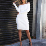 Elegant Chic Slim Plain Off Shoulder Long Sleeve Bodycon Dress
