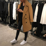 Fashion Solid Color Lapel Woollen Outerwear Same As Photo l