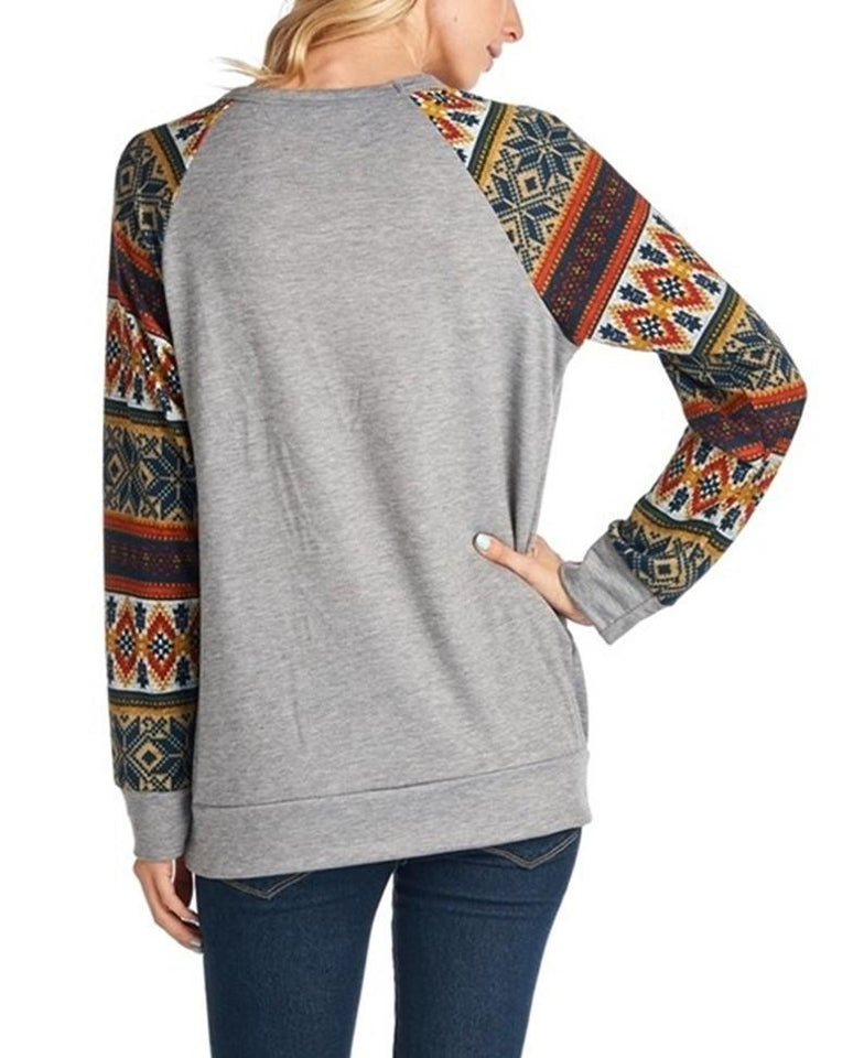 Christmas New Fashion   Print Round Neck Raglan Sleeve Shirt Dark Grey m
