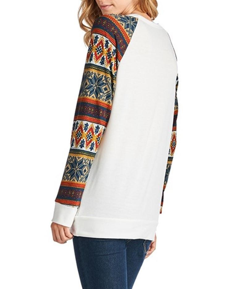 Christmas New Fashion   Print Round Neck Raglan Sleeve Shirt White l