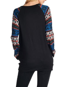Christmas New Fashion   Print Round Neck Raglan Sleeve Shirt Black s