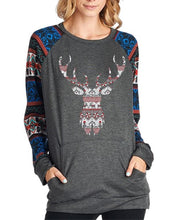 Christmas New Fashion Print Round Neck Raglan Sleeve Shirt