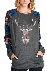 Christmas New Fashion   Print Round Neck Raglan Sleeve Shirt Black m