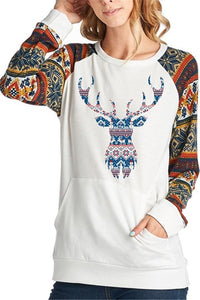 Christmas New Fashion   Print Round Neck Raglan Sleeve Shirt White s