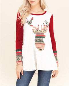 Christmas New Fashion Print Round Neck Raglan Sleeve Shirt Black xl
