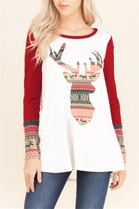 Christmas New Fashion Print Round Neck Raglan Sleeve Shirt Red s