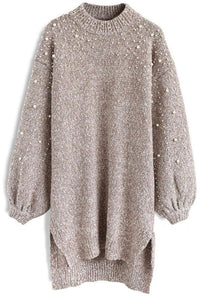 Pure Color Round Neck, Loose Pearl Knitwear Khaki m