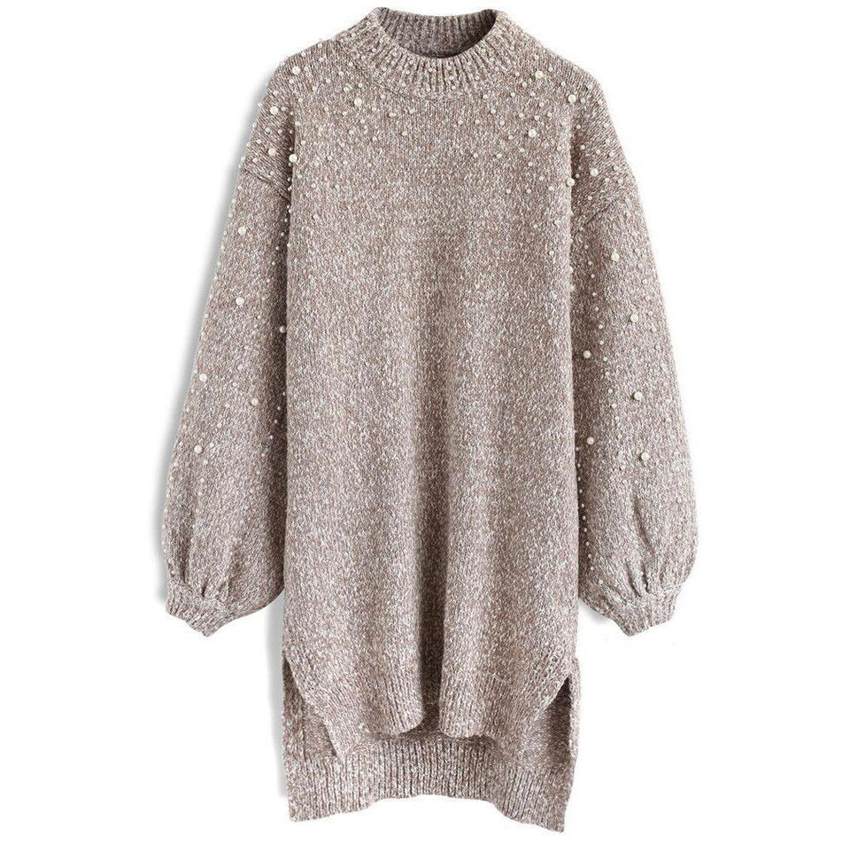Pure Color Round Neck, Loose Pearl Knitwear Khaki l