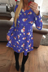 Christmas New Snowman Print Long Sleeve Dress Blue s