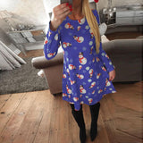 Christmas New Snowman Print Long Sleeve Dress Blue l