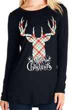 Christmas New Elk Print Long Sleeve T-Shirt