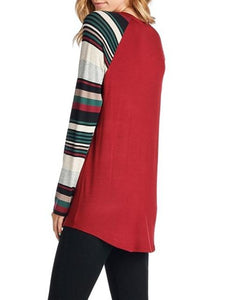 Christmas New Print Long-Sleeved T-Shirt Red xl