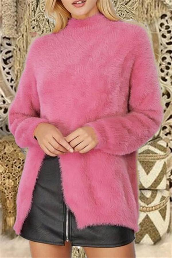 Pure Color Long Sleeve Slit Sweater Pink s