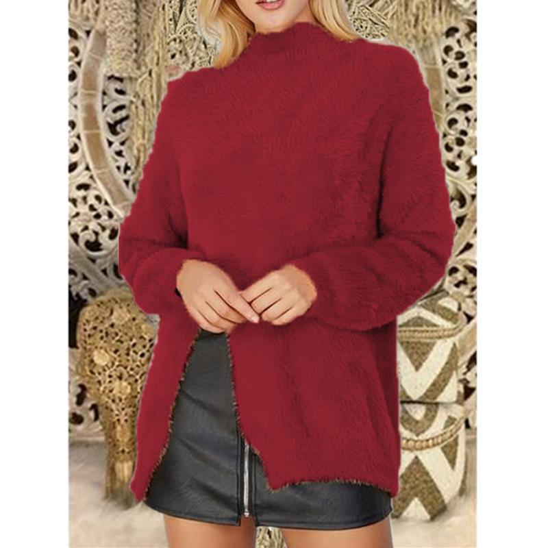 Pure Color Long Sleeve Slit Sweater Red m