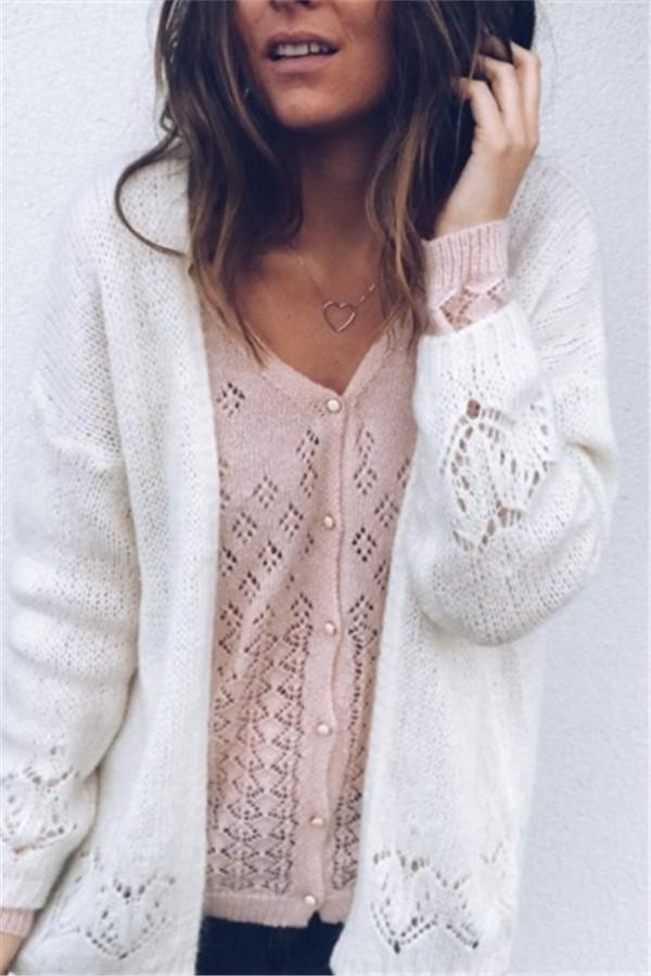 Sexy Hollowed-Out Sweater Thin Knit Cardigan White xl