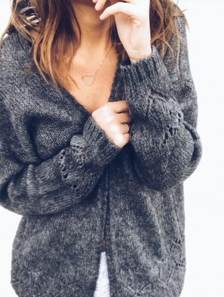 Sexy Hollowed-Out Sweater Thin Knit Cardigan Pink s