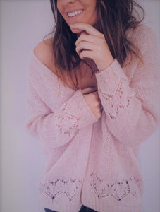 Sexy Hollowed-Out Sweater Thin Knit Cardigan Pink l