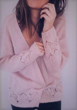 Sexy Hollowed-Out Sweater Thin Knit Cardigan Pink xl
