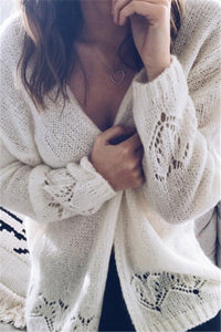 Sexy Hollowed-Out Sweater Thin Knit Cardigan White s