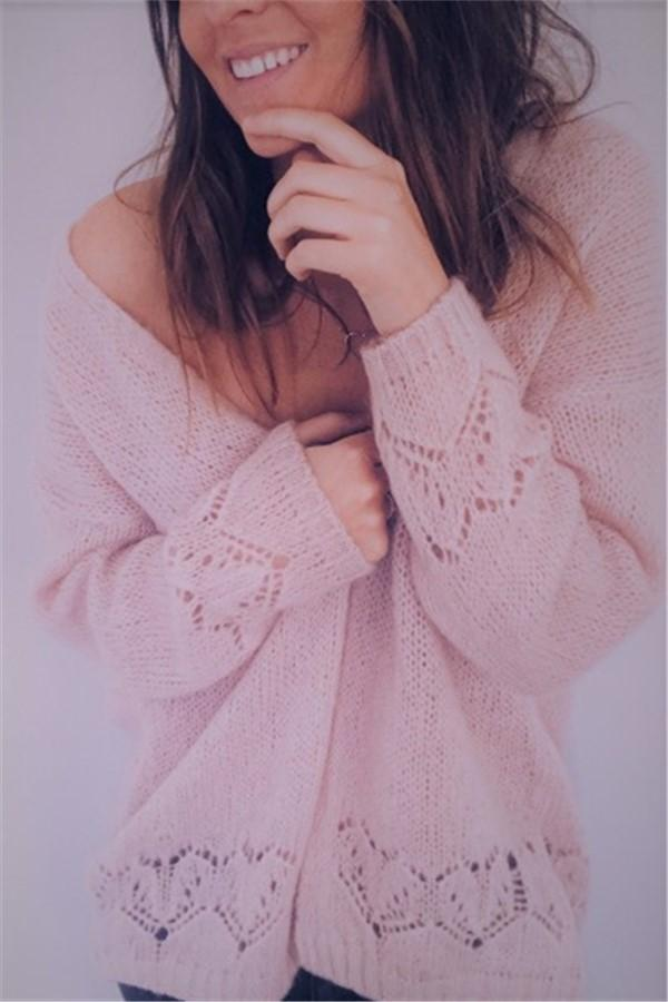 Sexy Hollowed-Out Sweater Thin Knit Cardigan Pink m