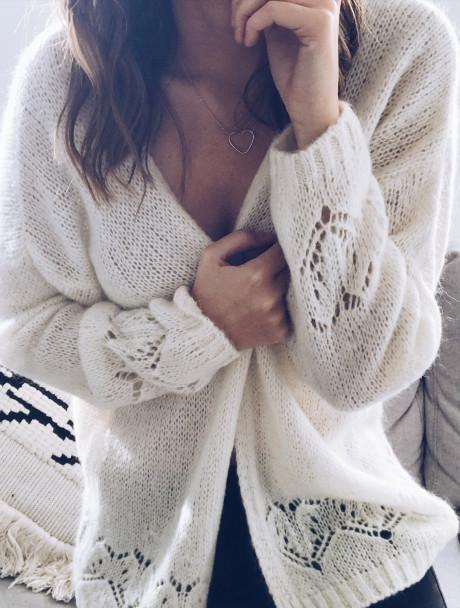 Sexy Hollowed-Out Sweater Thin Knit Cardigan White m
