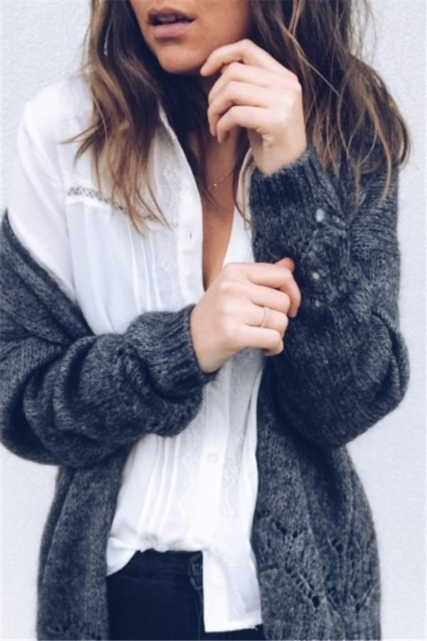 Sexy Hollowed-Out Sweater Thin Knit Cardigan Dark Grey m