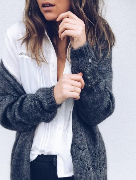 Sexy Hollowed-Out Sweater Thin Knit Cardigan Dark Grey l
