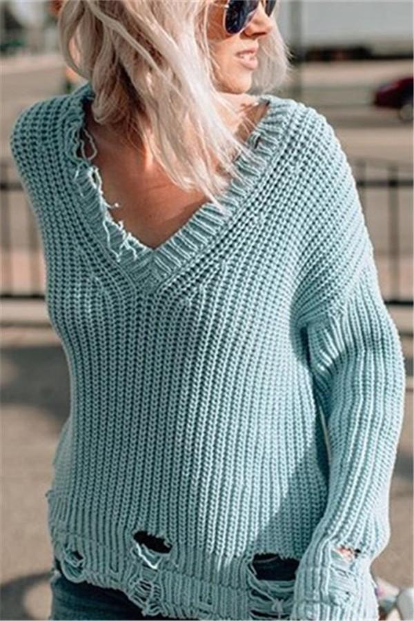 Pure Color Sexy V-Neck Oversized Sweaters Blue s