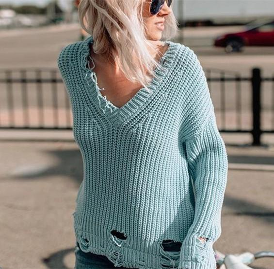 Pure Color Sexy V-Neck Oversized Sweaters Blue m