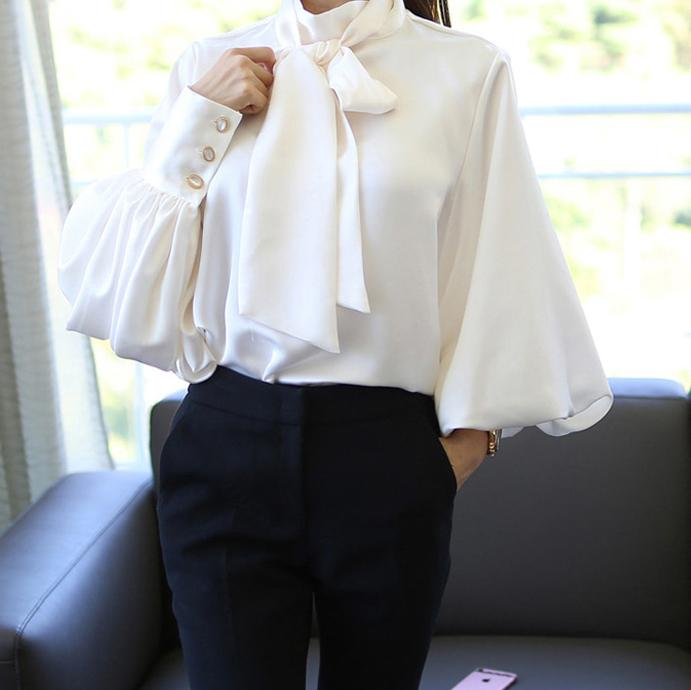 Casual Chiffon Bishop Sleeve Pure Colour Shirt White m