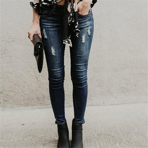 Ripped Jeans  And Slim Pencil Jeans Blue m