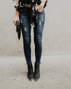 Ripped Jeans  And Slim Pencil Jeans Blue l