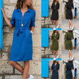 Lapel Solid Color Long Sleeve Shirt Shift Dress sky_blue s