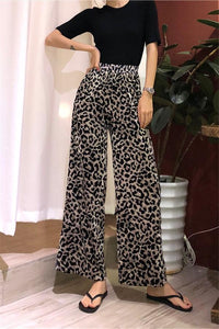 Vintage Leopard Print High-Waisted Wide-Leg Pants Leopard Print one size