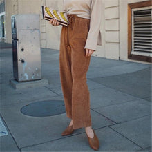 Corduroy Drawstring High Waist Baggy Pants