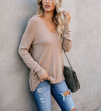 V Collar Long-Sleeved Zipper T-Shirt