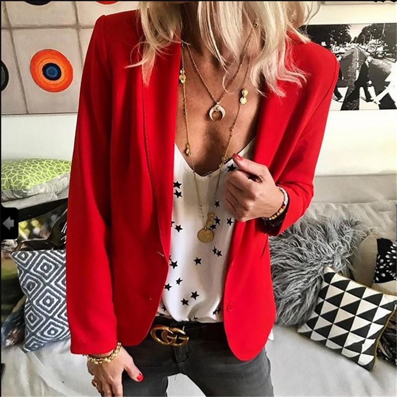 Pure Color Small Lapels Trim A Solid Suit Jacket Red m