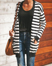Fashion Striped Long-Sleeved Cardigan Sweater