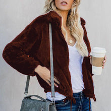 Autumn And Winter Pure Color Pocket Zipper With Fur Coat