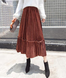 Autumn And Winter Fashion High Waist Pleated Gold Velvet Half-Length Skirt Red xl