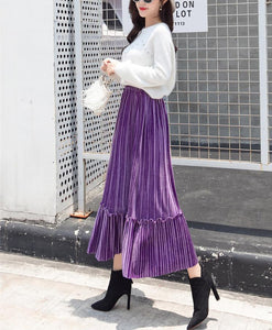 Autumn And Winter Fashion High Waist Pleated Gold Velvet Half-Length Skirt Red m