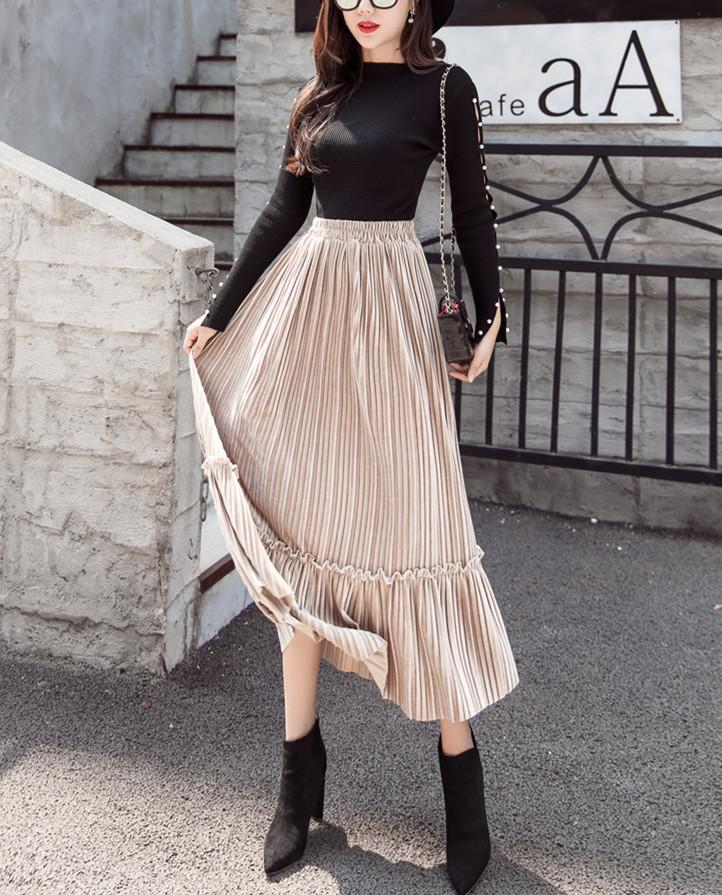 Autumn And Winter Fashion High Waist Pleated Gold Velvet Half-Length Skirt Apricot xl