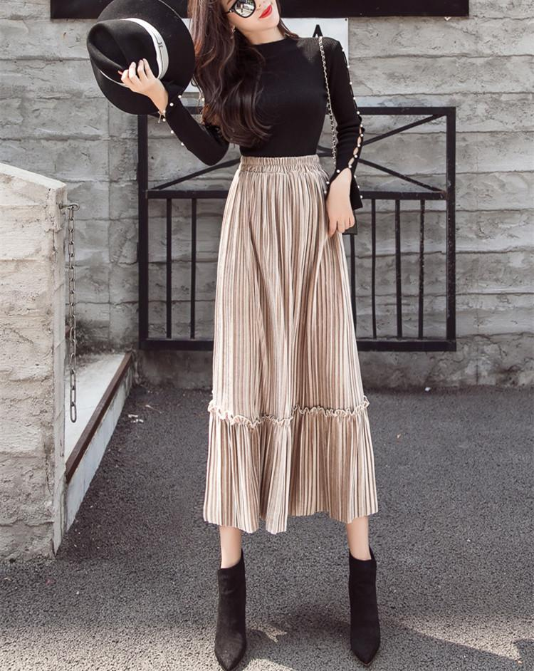 Autumn And Winter Fashion High Waist Pleated Gold Velvet Half-Length Skirt Army Green m