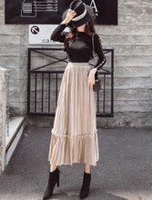 Autumn And Winter Fashion High Waist Pleated Gold Velvet Half-Length Skirt